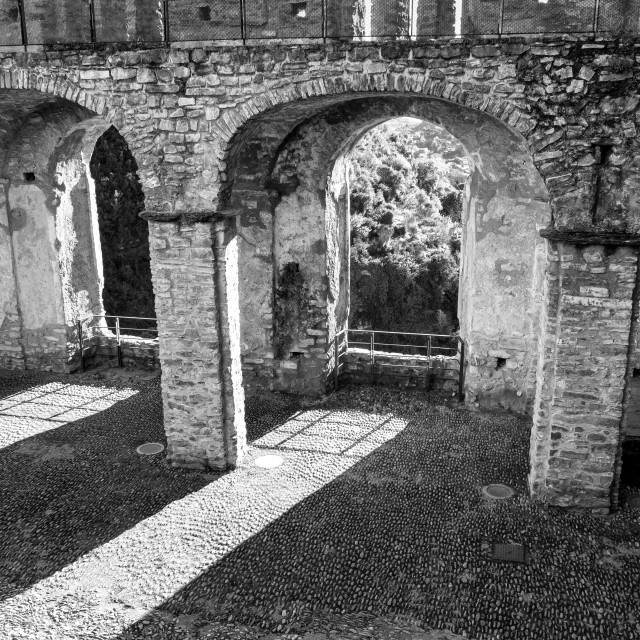 """""""Dolceacqua (ligurian Region, Northern Italy): internal view of the ancient Castle. Black and white photo"""" stock image"""