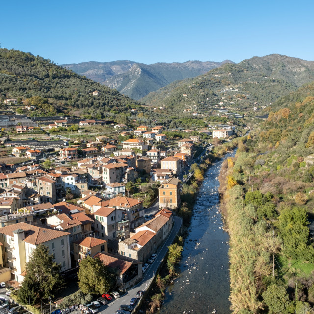"""""""Dolceacqua (ligurian Region, Northern Italy): aerial view. Color image"""" stock image"""