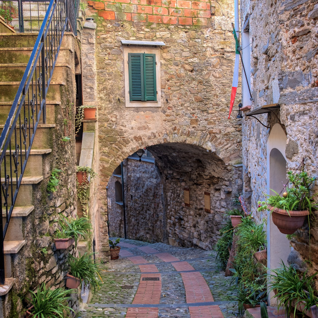 """""""Dolceacqua (ligurian Region, Northern Italy): old city view. Color image"""" stock image"""