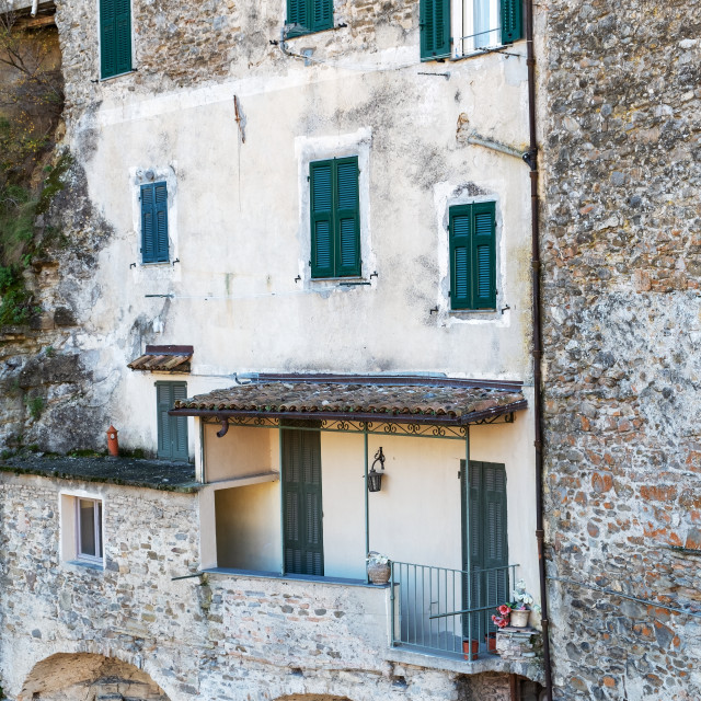 """""""Dolceacqua (ligurian Region, Northern Italy): old house facade. Color image"""" stock image"""