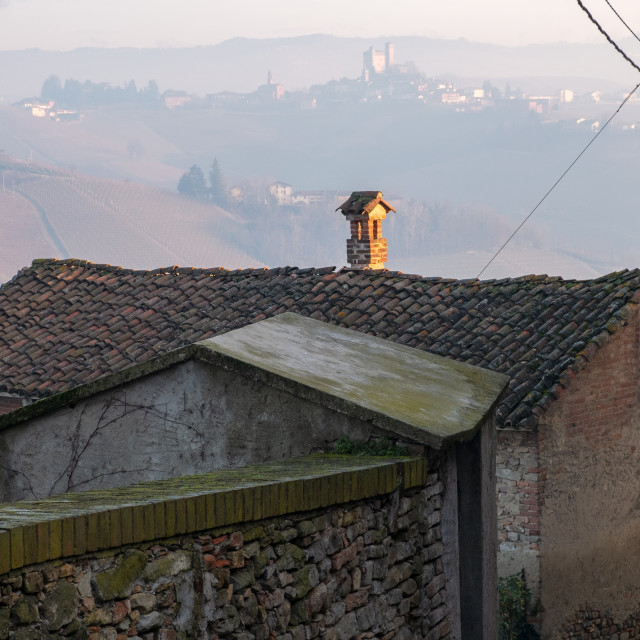 """""""Langhe old tile roofs. Color image"""" stock image"""