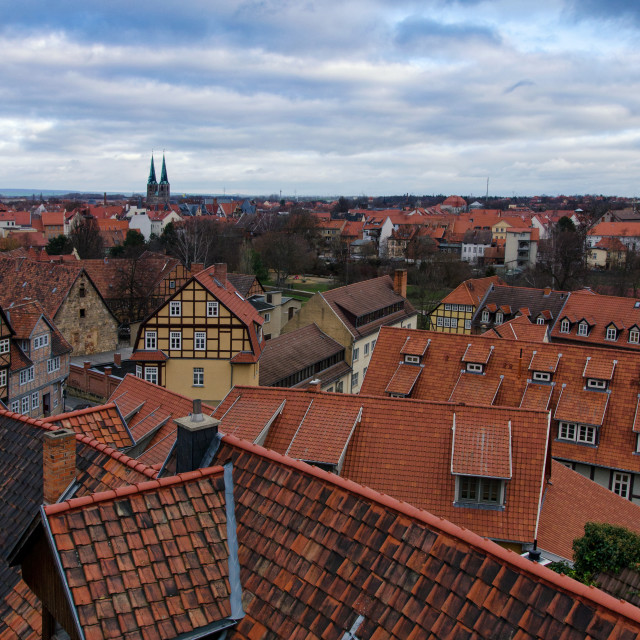 """Beautiful Evening Sky Over The Red Rooftops Of Quedlinburg"" stock image"