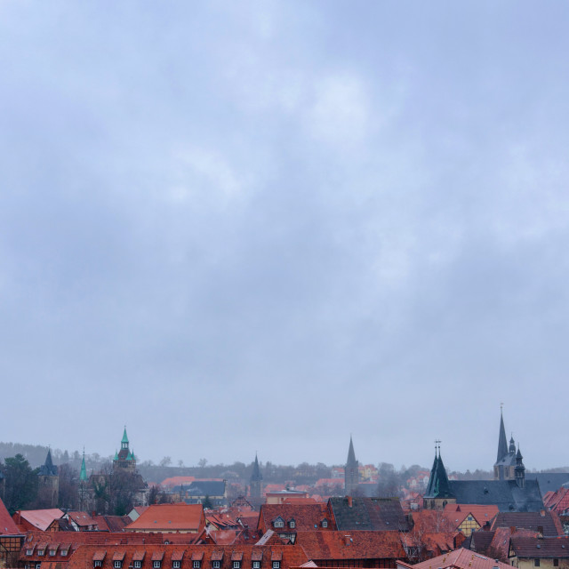 """Panorama Of The Old Town Of Quedlinburg In Germany"" stock image"