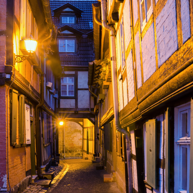"""Narrow Alley in Quedlinburg On A Calm Winter Evening"" stock image"