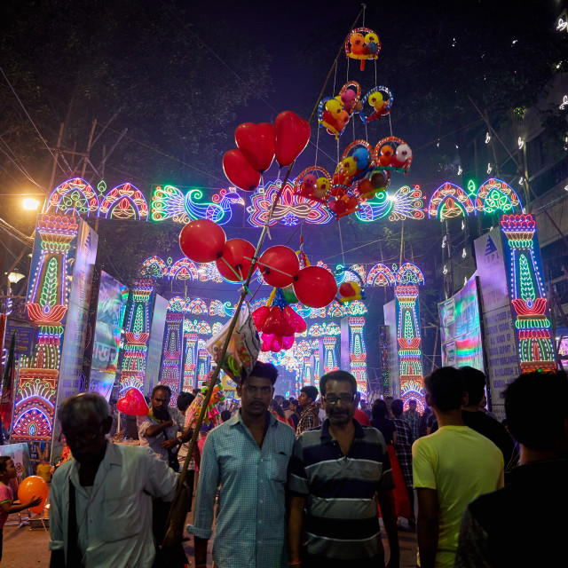 """Diwali lights, Kolkata, India"" stock image"