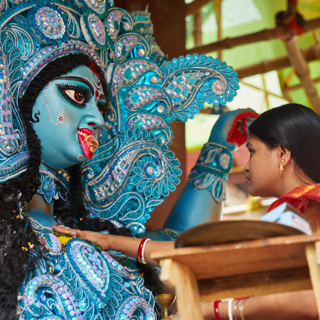 """Image of the Hindu deity Kali during the Kali Puja, Kolkata, India."" stock image"