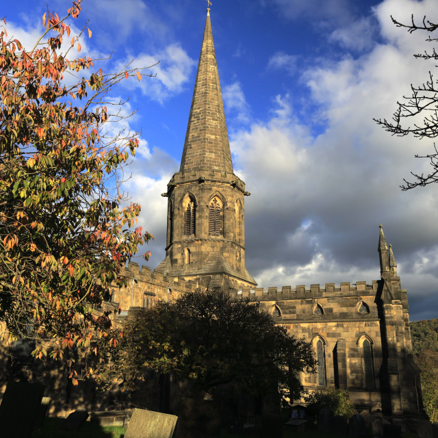 """""""Autumn view over All Saints Church, Bakewell Town, Peak District National..."""" stock image"""