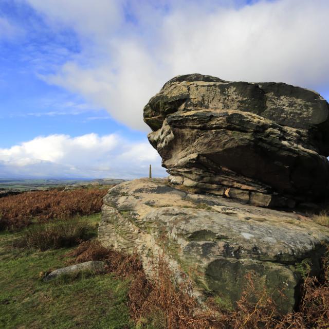 """The Three Ships Gritstones on Birchen Edge, Peak District National Park,..."" stock image"