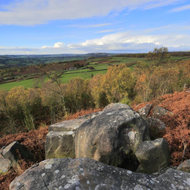"""Autumn view over Birchen Edge, Peak District National Park, Derbyshire,..."" stock image"