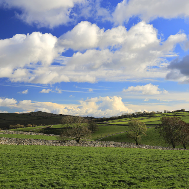 """View over the Drystone walls around Littondale, Litton village, Peak District..."" stock image"