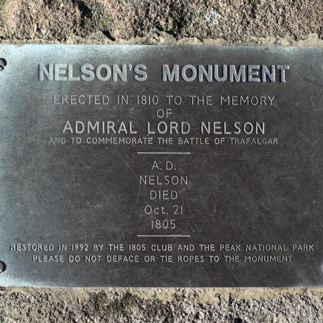 """Autumn view over Admiral Nelsons monument, Birchen Edge, Peak District..."" stock image"