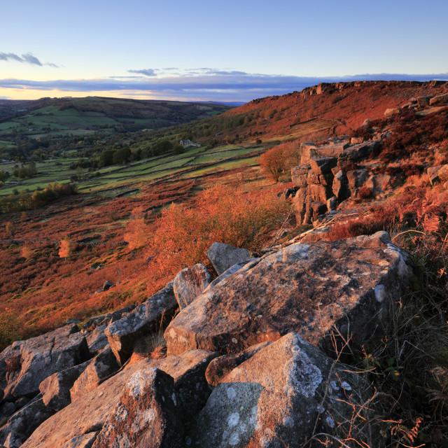 """Sunset on Baslow Edge, Peak District National Park, Derbyshire Dales,..."" stock image"