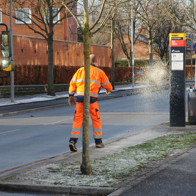 """""""CONCIL WORKERS SPREADING SALT ON SNOW"""" stock image"""