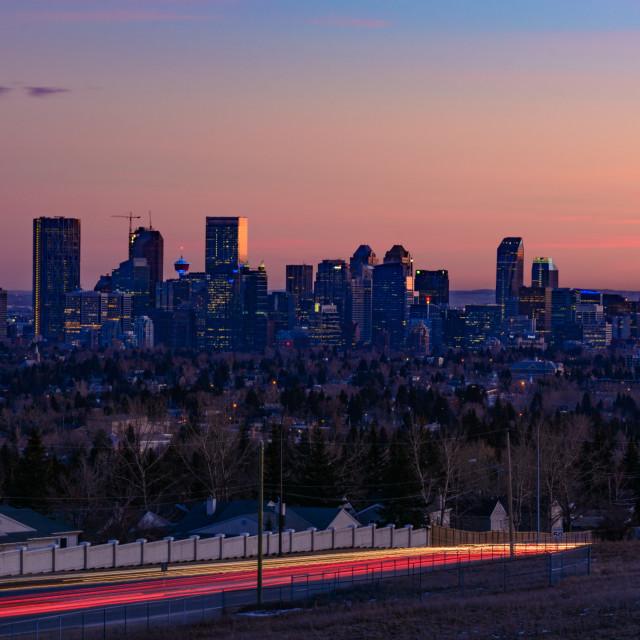 """Calgary at dusk"" stock image"
