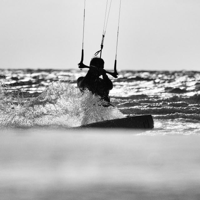 """Kitesurfing at the Beach"" stock image"