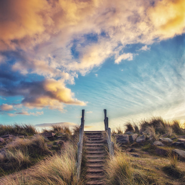 """Stairway to the Sunset"" stock image"