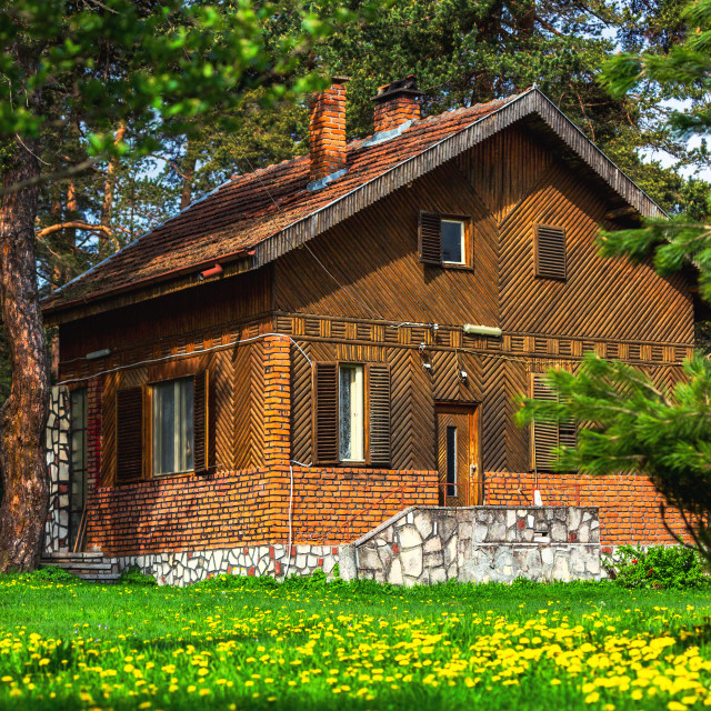 """Old vintage, wooden traditional house in the mountains"" stock image"