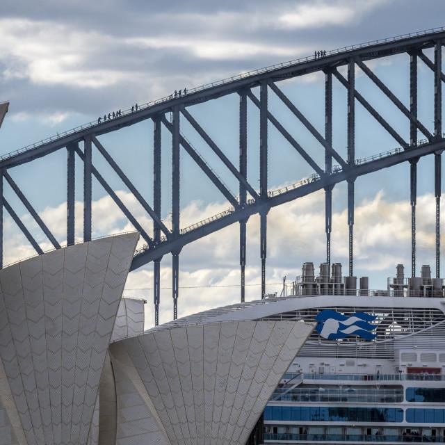"""Majestic Princess Sailing Past Sydney Icons"" stock image"