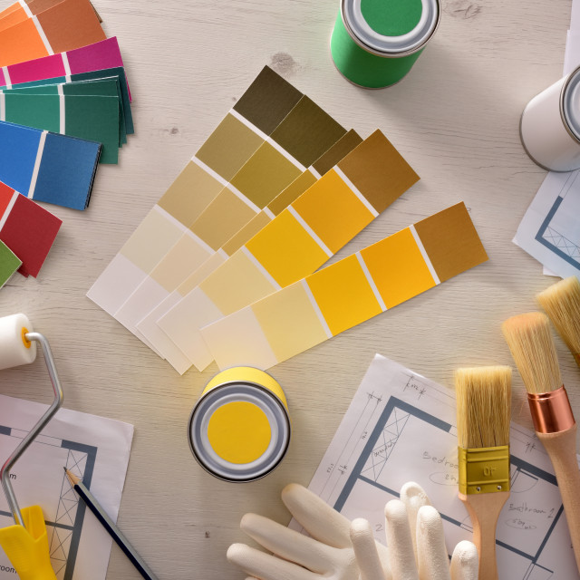 """""""Decorator table with painting project and housing renovation top view"""" stock image"""