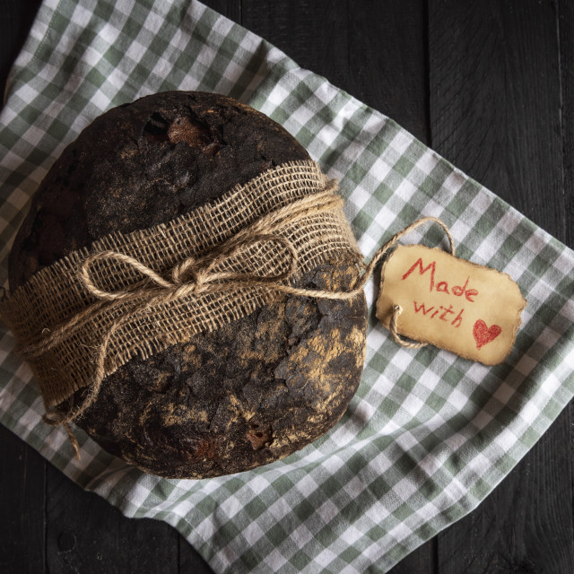 """Rye bread with handwritten message etiquette"" stock image"
