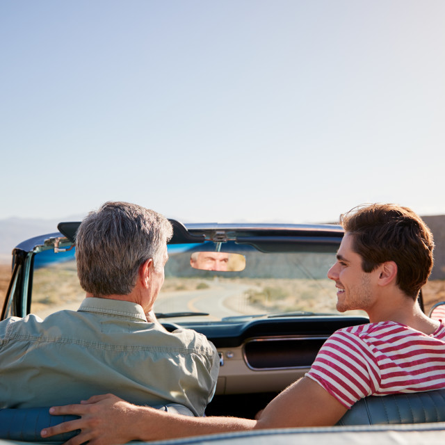 """""""Father and adult son on road trip in open top car, back view"""" stock image"""
