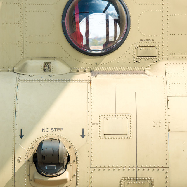 """""""helicopter fuselage and viewing window"""" stock image"""