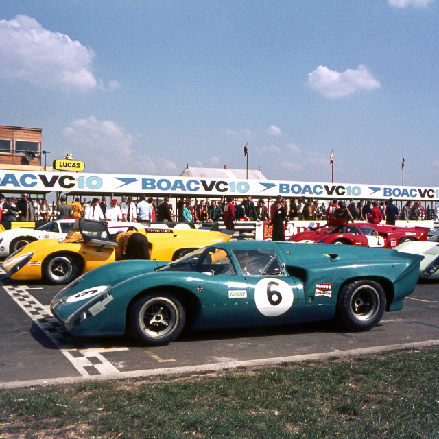 """""""Sports and GT cars on the grid at Thruxton"""" stock image"""