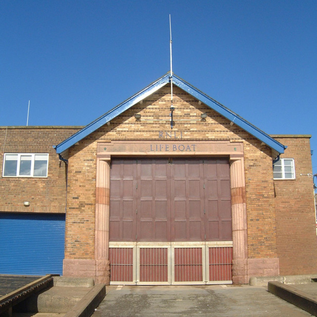 """RNLI Lifeboat House Scarborough"" stock image"