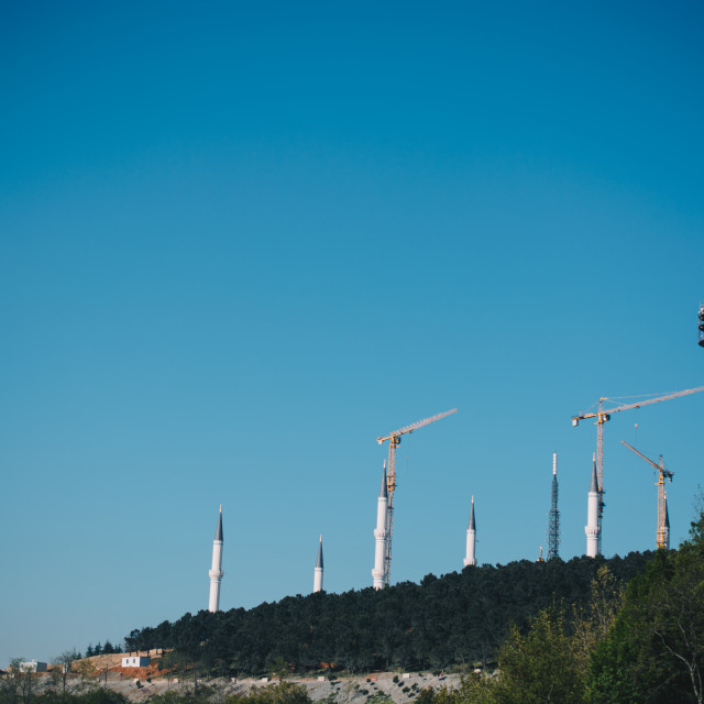 """""""TV towers in Camlica, Istanbul, in blue sky"""" stock image"""