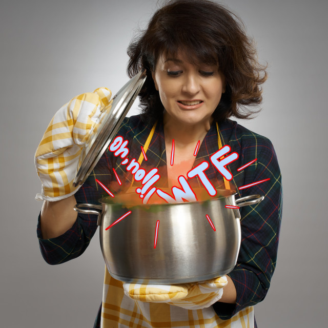 """""""Housewife with a shock expression looking in the pot"""" stock image"""