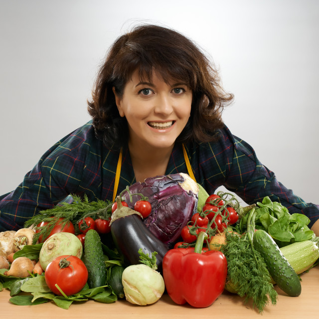 """""""Housewife preparing to cook"""" stock image"""
