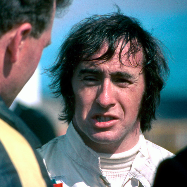 """""""Jackie Stewart after the race, Thruxton 1969"""" stock image"""