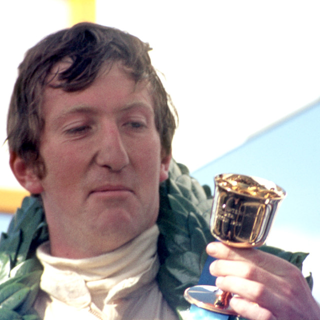"""""""Jochen Rindt and winner's cup Thruxton F2 1969"""" stock image"""