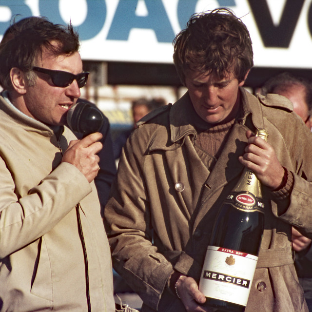 """""""Jochen Rindt receives Champagne for FTD at Thruxton 1969"""" stock image"""