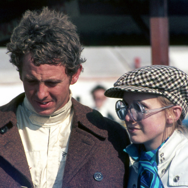 """""""Piers Coourage and wife Sally at BARC 200 Thruxton F2 Meeting 19"""" stock image"""