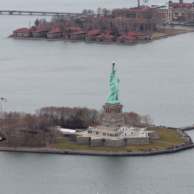 """Statue of Liberty from the air"" stock image"