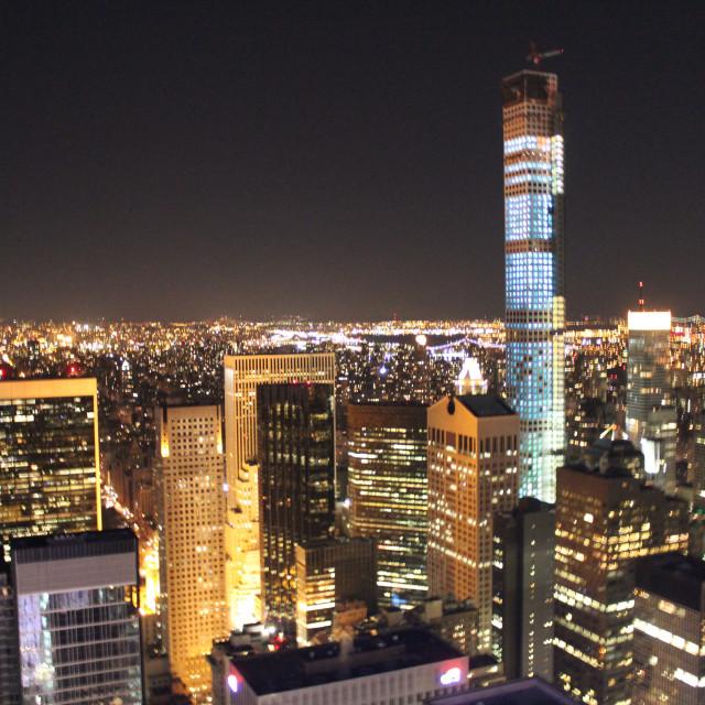 """Manhattan skyline at night"" stock image"