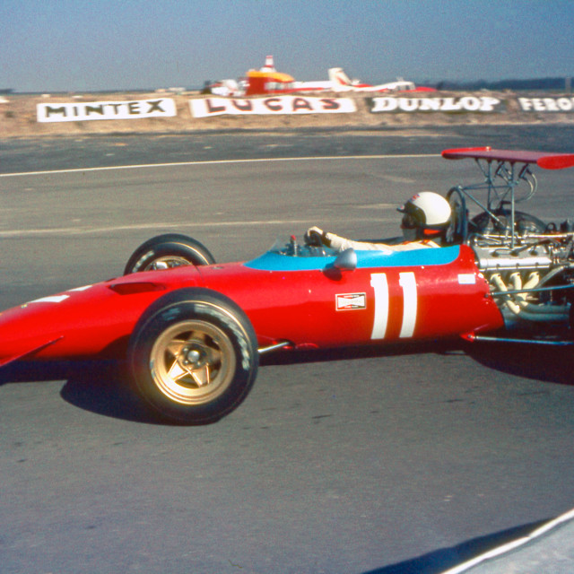 """Derek Bell Ferrari F2 Thruxton"" stock image"