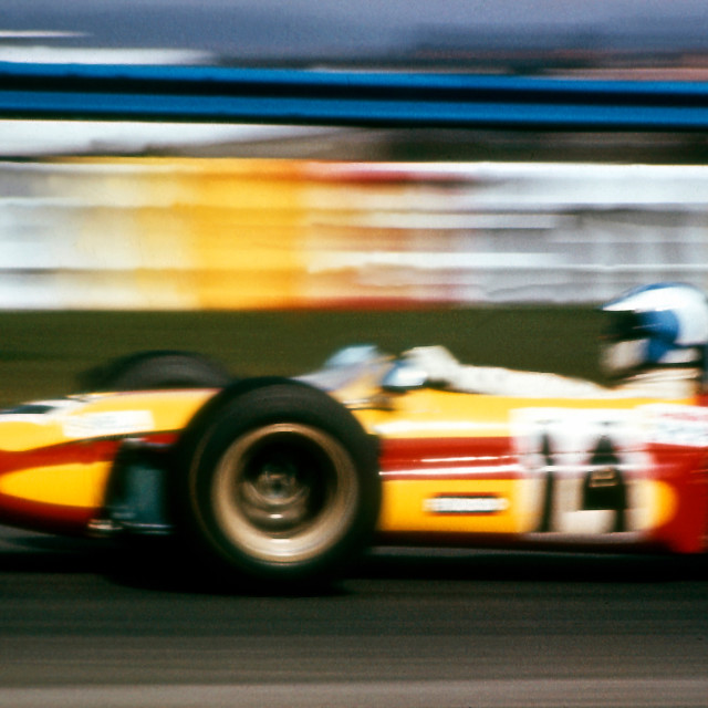 """""""Francois Cevert at speed in Tecno F2"""" stock image"""