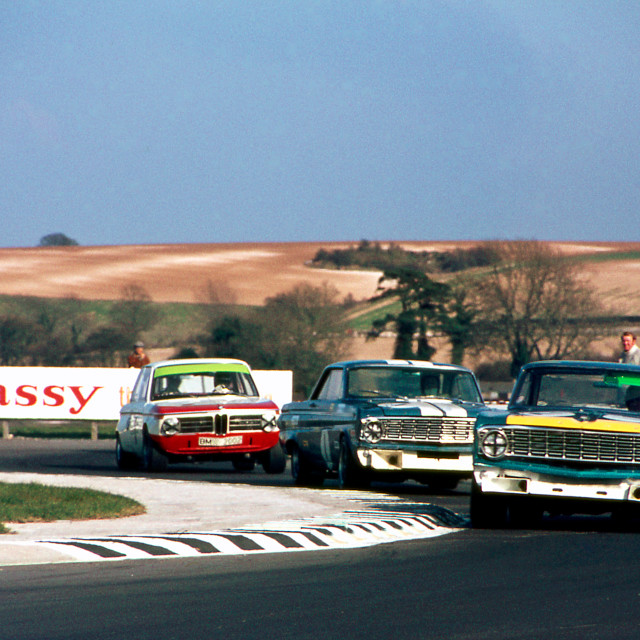 """""""Ford Falcons and BMW at Thruxton Chicane"""" stock image"""