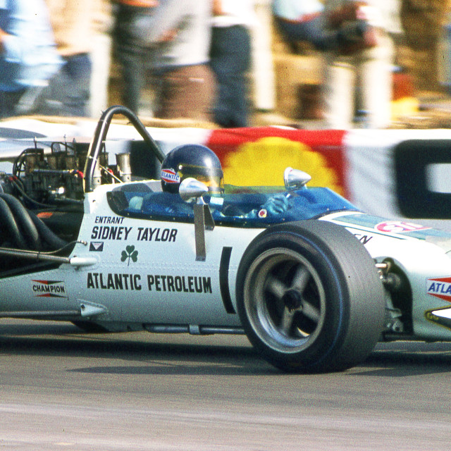 """""""Peter Gethin in Sid Taylor's Mclaren M10B F5000 Thruxton August"""" stock image"""