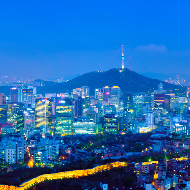 """Seoul skyline in the night, South Korea."" stock image"