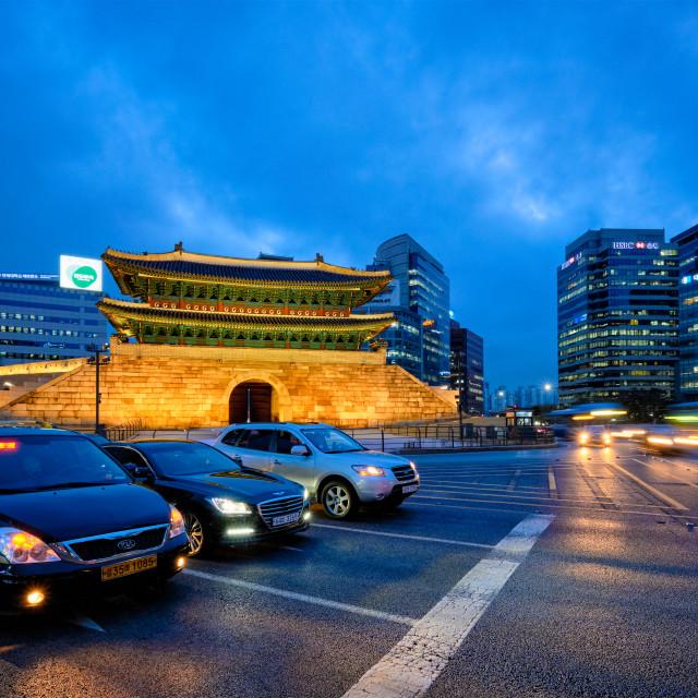 """Namdaemun Gate Sungnyemun with city traffic, Seoul, South Korea"" stock image"