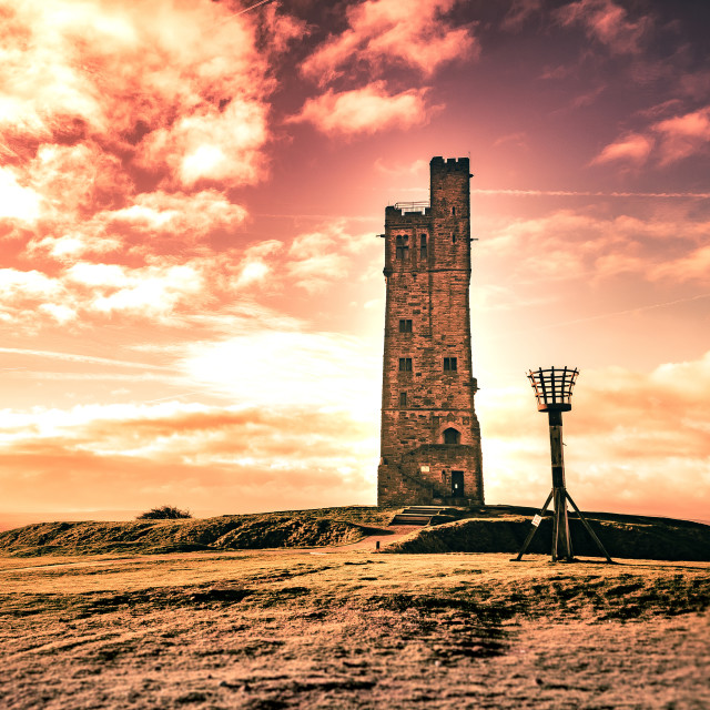 """Firey sunrise up at Castle Hill, Huddersfield"" stock image"