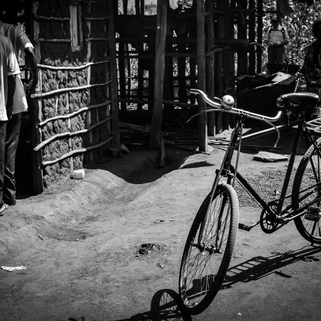 """""""Bicycle in Village"""" stock image"""