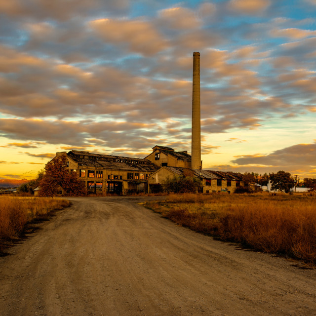 """Sunrise at the Preston Idaho Sugar Factory"" stock image"