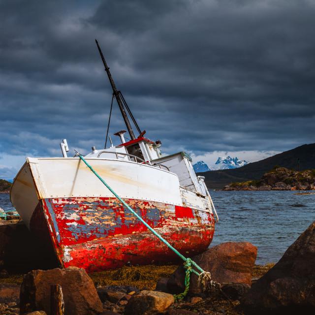 """""""Stranded boat in Norway"""" stock image"""
