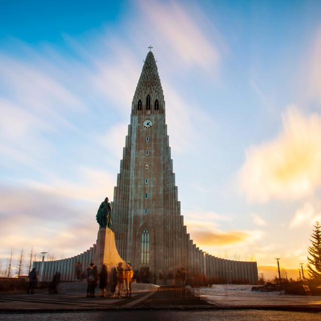 """Hallgrimskirkja church in Reykjavik during sunset"" stock image"