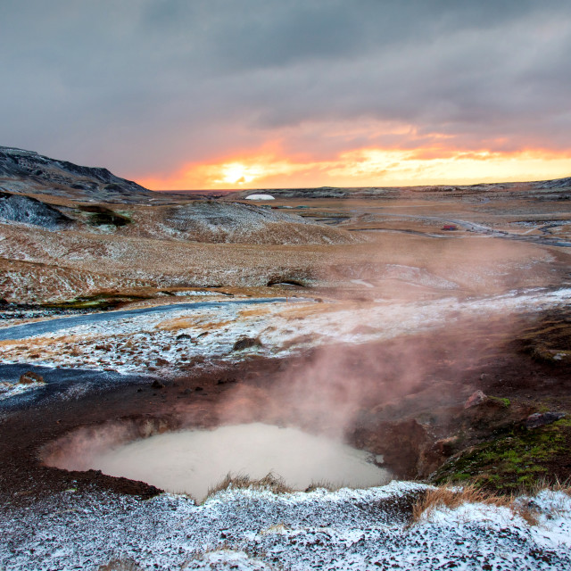 """Sunrise at thermal hot springs in Iceland"" stock image"