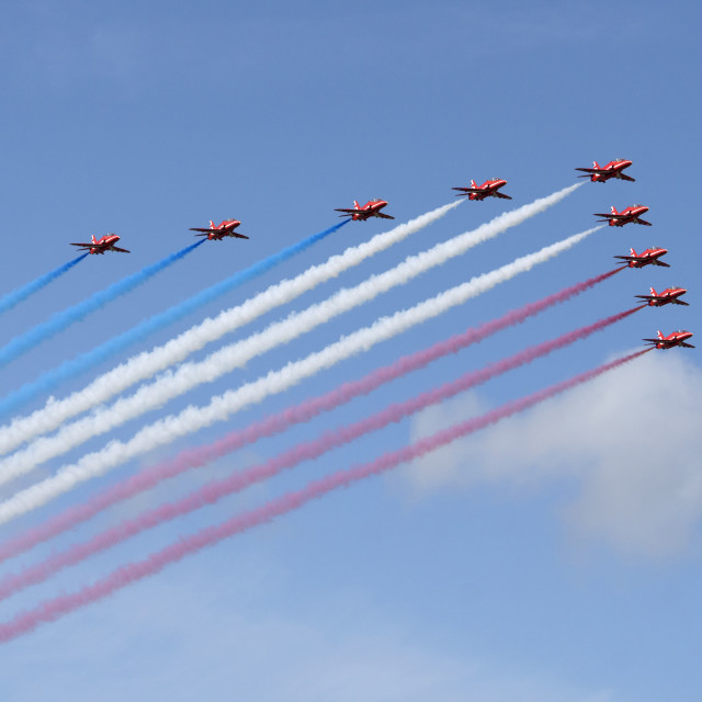 """""""Red Arrows arrival"""" stock image"""